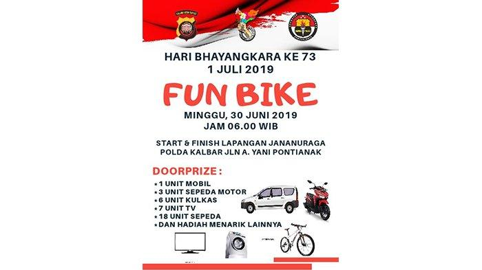 HUT ke-73 Bhayangkara, Polda Kalbar Gelar Jalan Santai dan Funbike Berhadiah Mobil dan Motor