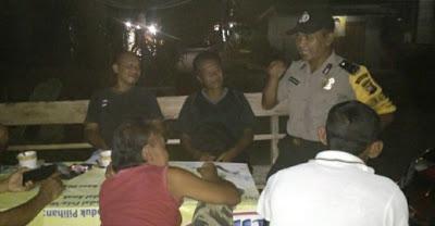 Aipda M. Thomzon Patroli Malam di Desa Balai Sebut