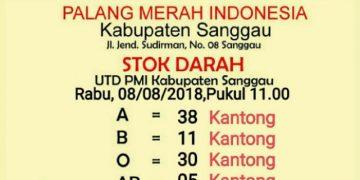 Update Stok Darah di UDD PMI Sanggau, Rabu (22/1/2020)