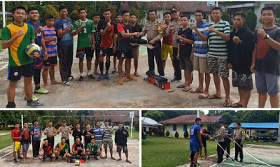 Kapolsek Toba Serahkan Perlengkapan Kebutuhan Sarana dan Prasarana Berupa Net dan Bola Volley Kepada Pemuda-i