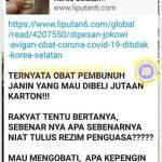 [SALAH] Obat Avigan yang Dipesan Jokowi adalah Obat Pembunuh Janin – Covid19.go.id