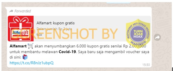 [SALAH] Alfamart Menyumbangkan 6000 Kupon Untuk Membantu Melawan COVID-19 – Covid19.go.id