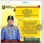 """[SALAH] Poster Gubernur Lampung """"Hari Kamis, Tgl 7 April 2020 Kami Menutup Akses Masuk Gerbang Bakauheni"""" – Covid19.go.id"""