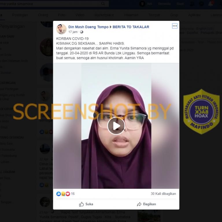 """[SALAH] Video """"nasehat dari alm. Erma Yunita Simamora yg meninggal pd tanggal. 20-04-2020 di RS AR Bunda Lbk Linggau"""" – Covid19.go.id"""