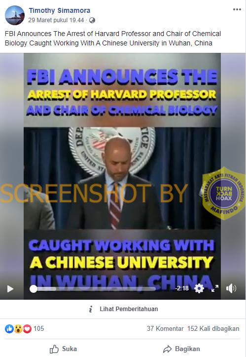 [SALAH] Terlibat Pembuatan COVID-19 di China, FBI Menangkap Profesor Harvard – Covid19.go.id