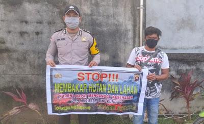 Brigpol Yanmaro Sosialisasi Stop Karhutla di Desa Balai Karangan