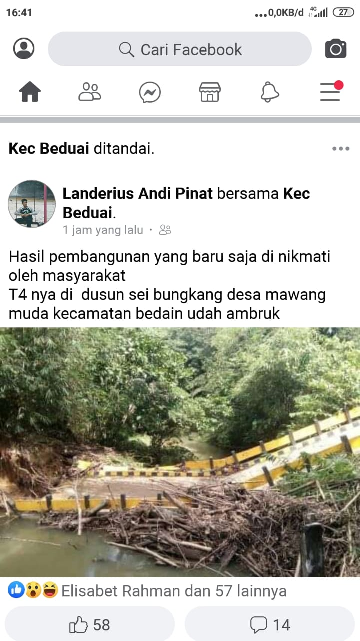 Beredar di FB, Ada Jembatan Ambruk di Kecamatan Beduai, Sanggau