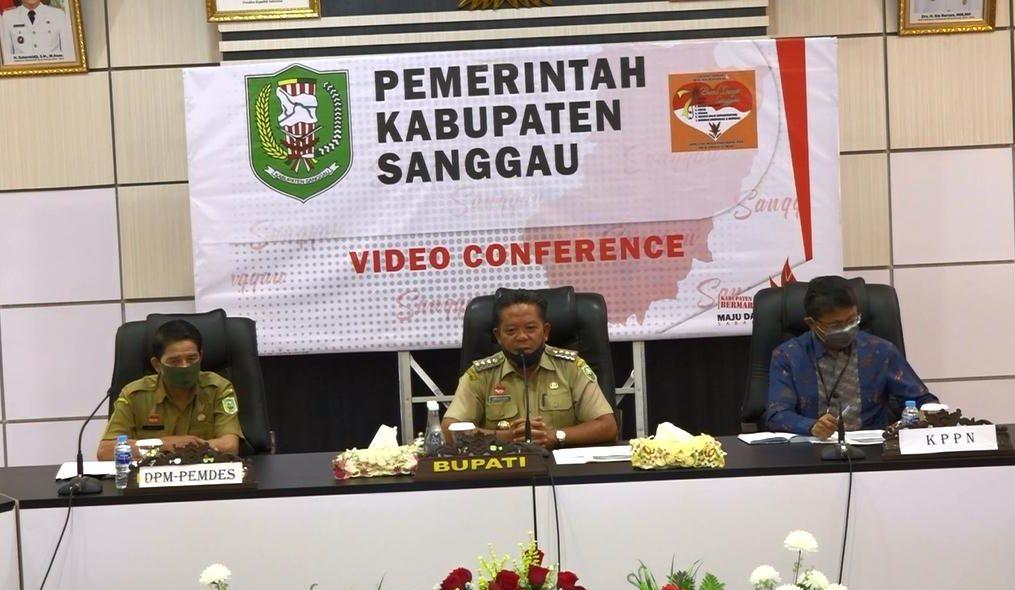 Vicon Percepatan Penyaluran BLT DD Bupati Sanggau Bersama Camat dan 163 Kepala Desa di Wilayah Kab. Sanggau