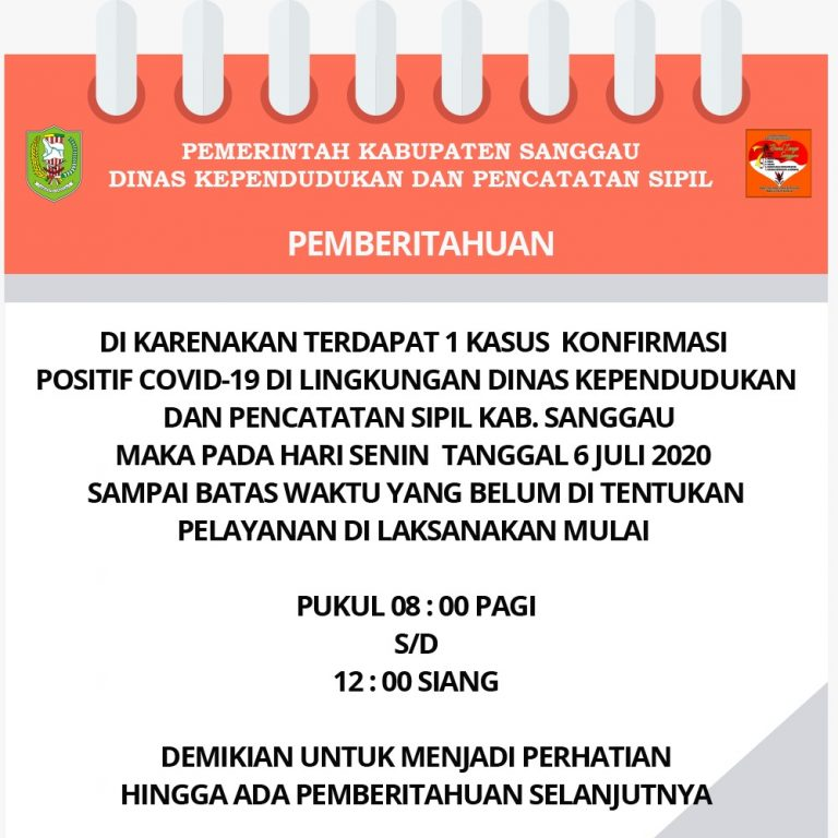 POLA HIDUP BARU terkait COVID 19 di DISDUKCAPIL Kab. SANGGAU