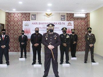 Kapolres Sanggau Bersama Forkopimda Ikuti Upacara Peringatan Hari Bhayangkara ke-74 Secara Virtual