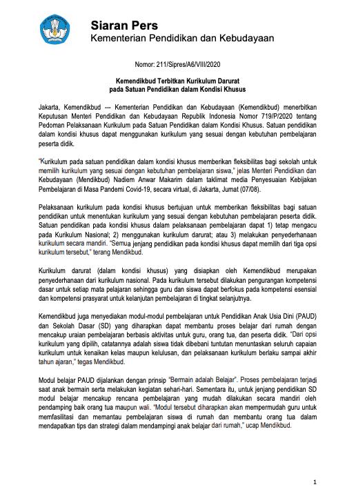 Kemendikbud Terbitkan Kurikulum Darurat pada Satuan Pendidikan dalam Kondisi Khusus - Berita Terkini