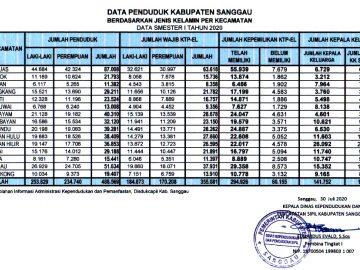 DATA AGREGAT KEPENDUDUKAN KEPENDUDUKAN KABUPATEN SANGGAU SEMESTER I TAHUN 2020