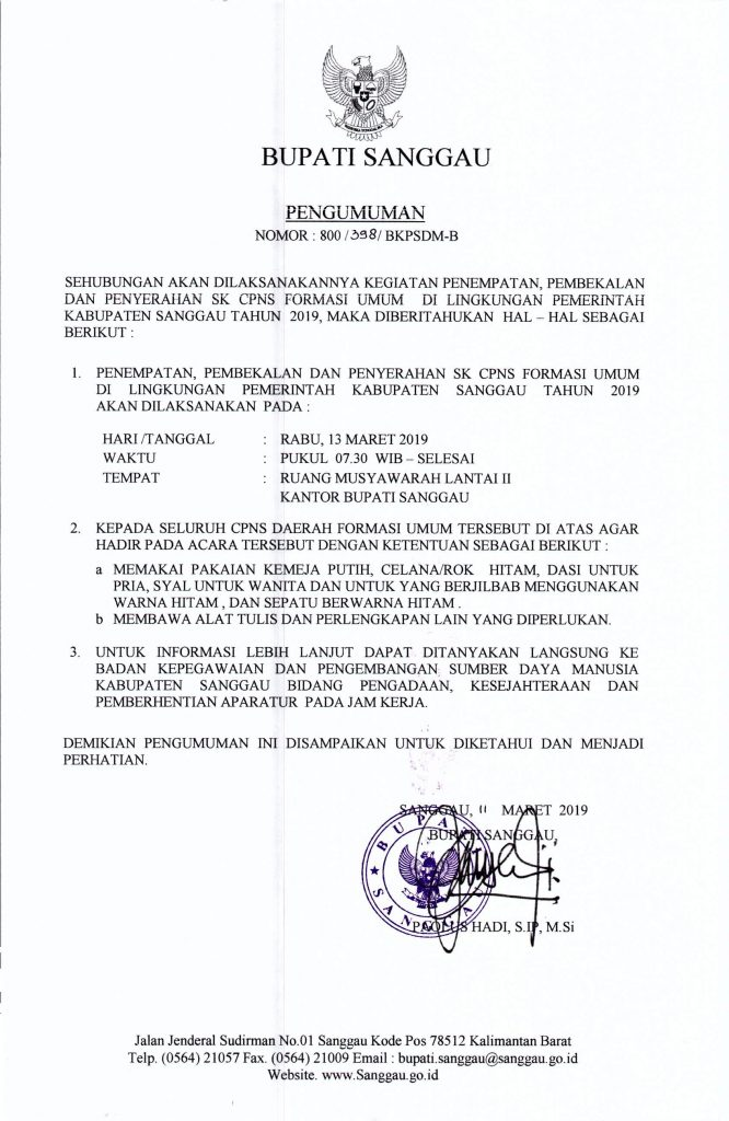 Pengumuman Kegiatan Penempatan, Pembekalan dan Penyerahan SK CPNS Formasi Umum di Lingkungan Pemerintah Kabupaten Sanggau Tahun 2019