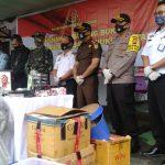Wabup Sanggau Hadir Menyaksikan Pemusnahan Barang Bukti Dari 129 Perkara di Kejari Sanggau