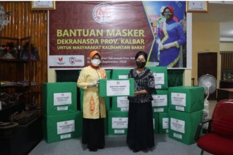 Dekranasda Sanggau Dukung Kampanye Penggunaan Masker