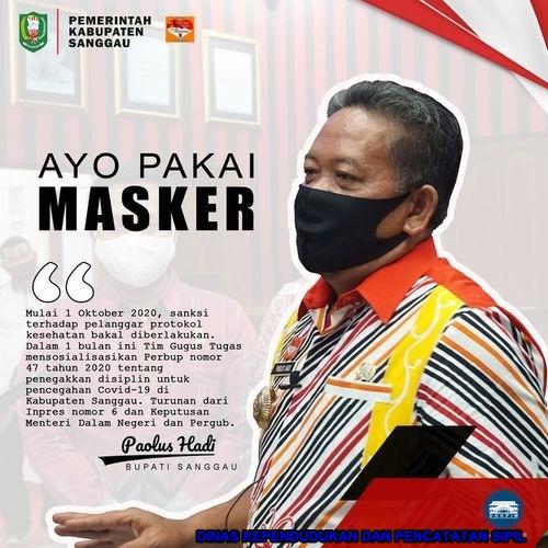 "MULAI 1 OKTOBER 2020 ""ayo pakai masker"" Prokes dalam Pencegahan Virus Covid-19 DI DISDUKCAPIL SERTA DI KABUPATEN SANGGAU"