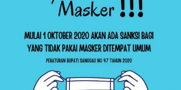 MULAI 1 Oktober 2020 WAJIB PAKAI MASKER DITEMPAT UMUM