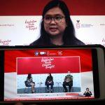 Monica Nirmala, Penasihat Menkomarinvest untuk peningkatan testing dan tracing bersama Soeprapto Tan, Managing Director IPSOS Indonesia menjadi pembicara dalam Dialog Produktif bertema Optimisme Masyarakat Terhadap 3T (Tracing, Testing, Treatment) di Jakarta, Kamis, 12 November 2020.