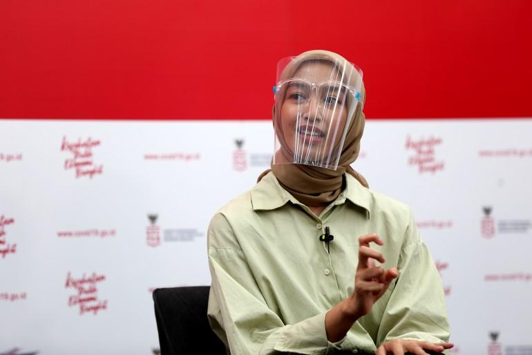dr. Aulia Giffarinnisa (Dokter - RSDC Wisma Atlet) berbagi cerita inspiratif dalam dialog produktif bertema Berbakti Untuk Kemanusiaan Tanpa Pamrih di Jakarta, Jumat, 4 Desember 2020.