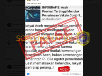 "[SALAH] ""Rakyat Aceh menolak vaksin covid19 karena menurut para ulama Aceh itu haram"" - Berita Terkini"