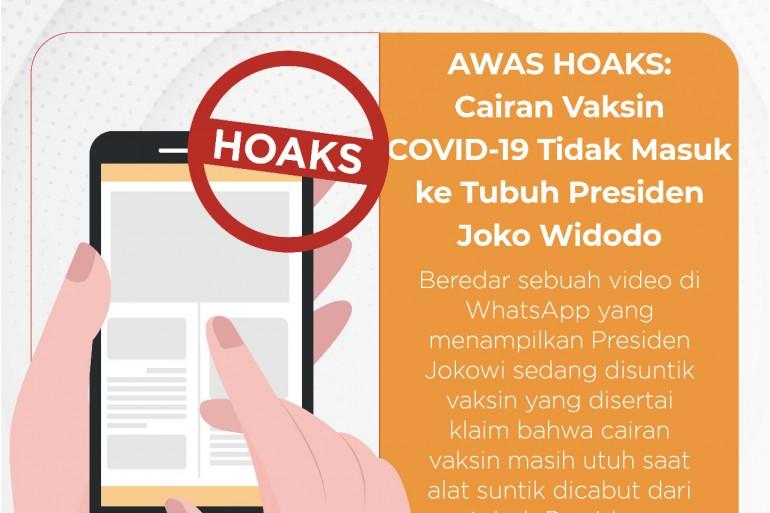 Hoaks: Cairan Vaksin COVID-19 Tidak Masuk ke Tubuh Presiden Joko Widodo - Berita Terkini