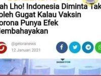 [SALAH] Indonesia Tidak Dapat Menggugat Jika Vaksin Bermasalah - Berita Terkini