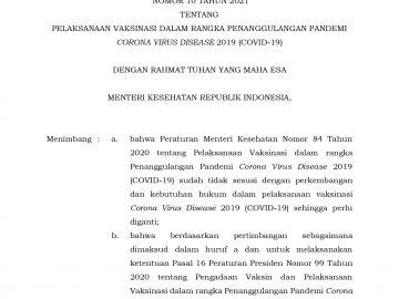 Peraturan Menteri Kesehatan Republik Indonesia Nomor 10 Tahun 2021 - Berita Terkini