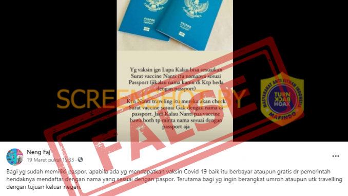 "[SALAH] ""Yg vaksin jgn Lupa Kalau bisa sesuaikan Surat vaccine Nanti itu namanya sesuai Passport"" - Berita Terkini"