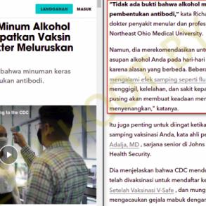 """[SALAH] """"setelah vaksin Covid-19 selama 5 bulan tak boleh minum yg mengandung alkohol"""" - Berita Terkini"""