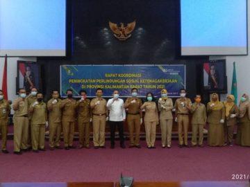 Nakertrans Sanggau Turut Berpartisipasi dalam Rapat Koordinasi Peningkatan Perlindungan Sosial Tenaga Kerja