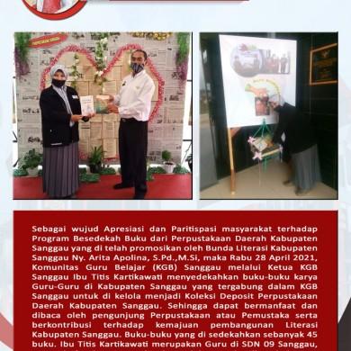Program sedekah buku oleh Perpustakaan Daerah Kabupaten Sanggau di Apresiasi Baik Oleh Masyarakat