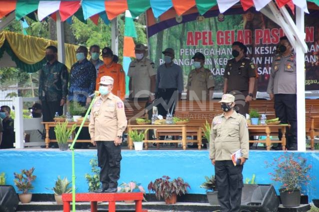 Apel Gelar Pasukan Kesiapsiagaan Pencegahan Dan Penanganan Karhutla, Ini Pesan Wakil Bupati Sanggau