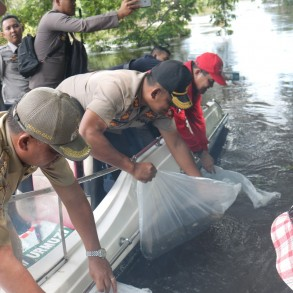 Bupati dan Kapolres Sanggau Tebar 10 Ribu Benih Ikan