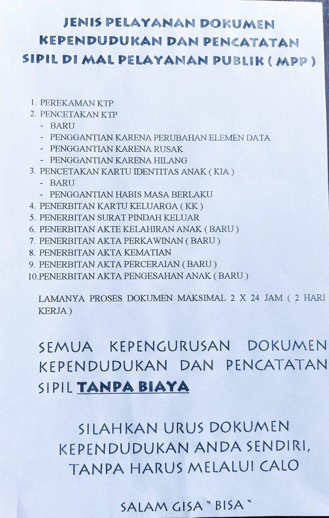 JENIS PELAYANAN DI MPP - Disdukcapil Kab. Sanggau