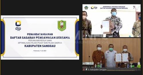 Pemkab Sanggau Melalui Bapenda Sanggau Melakukan Penandatangan Perjanjian Kerja Sama Optimalisasi Pajak Pusat Dan Pajak Daerah Antara DJPK, DJP