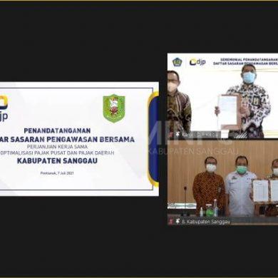 Penandatangan Perjanjian Kerja Sama Optimalisasi Pajak Pusat Dan Pajak Daerah Antara DJPK, DJP Dan Pemkab Sanggau